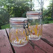 vintage glass canisters kitchen two vintage glass canisters storage jars kitchen decor