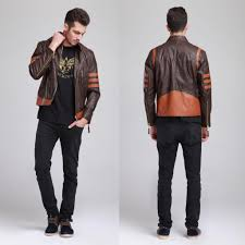 halloween jacket x men origins wolverine brown biker leather jacket coat costume