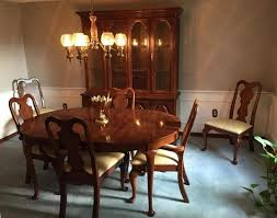 8pc basset cherry dining room set oval table 6 chairs u0026 china