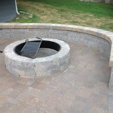 belgard fire pit from bare bones concrete back door landing pad to one of a kind