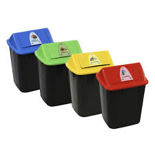 Waste Paper Bins New Bin 4 Pack Different Coloured Waste Separation Bins