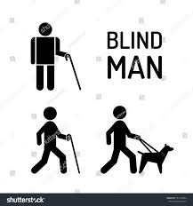 Blind People Stick Set Icons Stick Figure Blind People Stock Vector 701760994