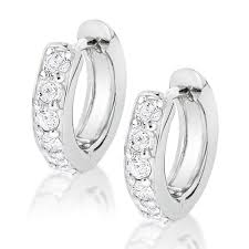 diamond huggie earrings 14k gold small diamond hoop earrings huggies 1 2ct