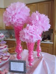 Centerpieces For Bridal Shower by Pink Baby Shower Centerpiece Tall Vases Pink Filler Paper Pink