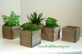 Square Vase Flower Arrangements Wood Box Wood Boxes Succulent Planter Flower Rustic Pot Square