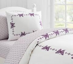 Duvet Cover Lavender Windsor Embroidered Butterfly Duvet Cover Pottery Barn Kids