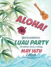 pool party invitation template with palm trees and waves stock