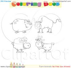 farm animal coloring book cartoon of a coloring book page with farm animal outlines text and