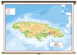 World Map Jamaica by Jamaica Physical Educational Wall Map From Academia Maps