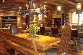 best style log cabin style home for great escapism that you must stunning log cabin style home design with wooden dining table with chairs and bench and candle