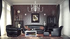 classy retro victorian living room design with decorative victorian modern interior design with damask wallpaper and faux leather seating