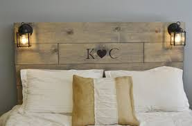 Rustic Wood Headboard Rustic Wood Headboard With Custom Wood Engraved Initials And