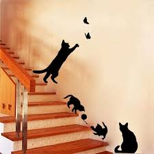 Cat play Butterflies Wall Sticker Removable Decoration Decals for