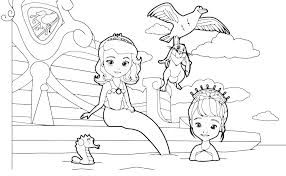 sofia the first free coloring pages on the swimming pool