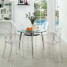 Dining Room Chairs Set Of 4 Set Of 4 Victoria Style Ghost Dining Chair Clear Color