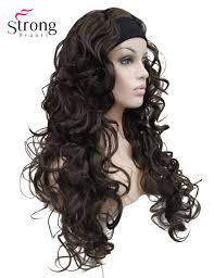 headband wigs long curly black brown blonde synthetic headband wig ladies 3 4 wigs