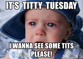 Titty Tuesday Memes - it s titty tuesday i wanna see some tits please sad face c