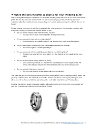 wedding band types pdf insiders guide to choosing your wedding band