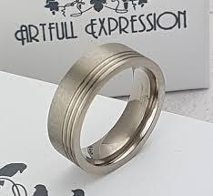 titanium wedding rings uk tri groove titanium wedding ring artfull expression