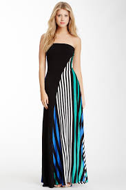 remain strapless knot back solid stripe knit maxi dress