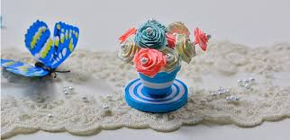 How To Make Home Decorating Items How To Make A Blue Quilling Paper Flower Pot And Flowers For Home