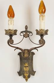 Cast Iron Wall Sconce Antique Cast Brass And Wrought Iron 2 Candle Tudor Wall Sconce