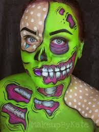 pop art zombie makeup x face painting x body painting instagram