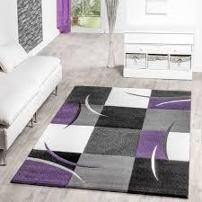 teppich für wohnzimmer teppich wohnzimmer modern palermo mit konturenschnitt in lila grau