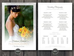 wedding planner pricing wedding photographer price guide card template by cursive q
