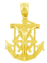 religious charms charms the anchored mariners cross gold pendant