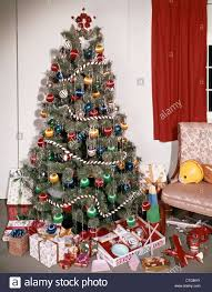1960s decorated tree with ornaments garland tinsel