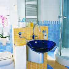 bright glass blue sink idea for colorful kids bathroom colorful