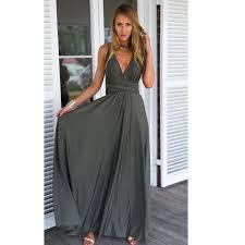 maxi kjole grå lang maxi kjole med bindestropper femalelux