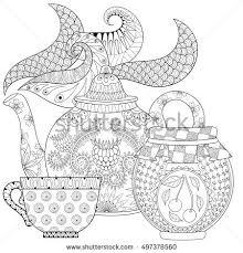 zen teapot zentangle tea stock vector 417390052