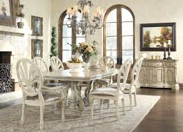 dining room brilliant antique white finish table wdouble pedestal