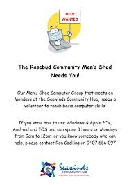 men s the rosebud community men s shed computer group needs you