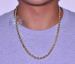 golden chain necklace men images Real 10k yellow gold hollow rope mens chain necklace 5 mm jpg
