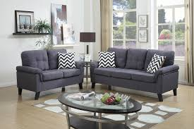 Gray Color For Living Room F6905 Bk14 P5 2pc Sofa Set W 4 Accent Pillows In Blue Grey Color