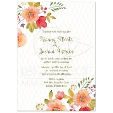 floral wedding invitation olive green and pink watercolor flowers