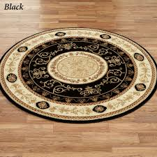 Black Circle Rug Rose And Scroll Aubusson Round Rugs