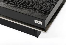 horizon modern crocodile black coffee table with pull out