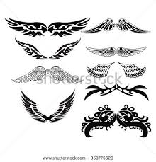 vector set sketches tribal wings stock vector 359775620