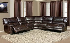 Parker Sofa Pegasus 5 Piece Power Reclining Sectional In Nutmeg Synthetic