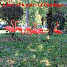aliexpress buy 6 pairs plastic flamingo ornaments lawn