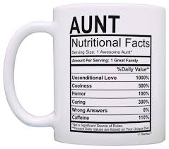 mothers day gifts for aunt nutritional facts label funny coffee