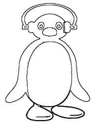 picture pingu putting head phone coloring picture