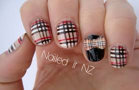 nailed it nz burburry plaid nail art with 3d bows from kkcenterhk