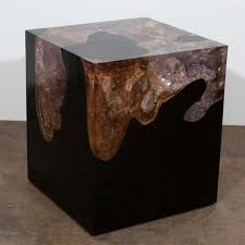 espresso wood coffee table espresso teak and cracked resin side table image 2 furniture