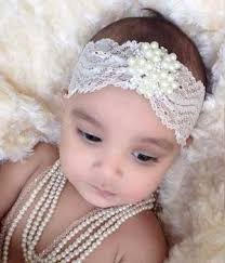 lace headbands buy baby girl fancy ivory pearl rhinestone lace headband