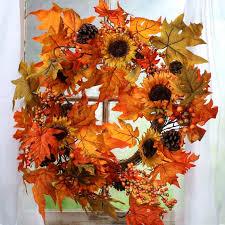 Sunflower Mesh Wreath Fall Artificial Sunflower And Leaf Wreath Wreaths Floral